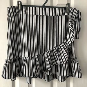 Black and white stripped wrap skirt
